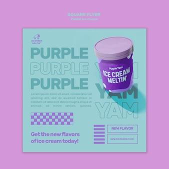 Quadratische flyer-vorlage pastell-eiscreme