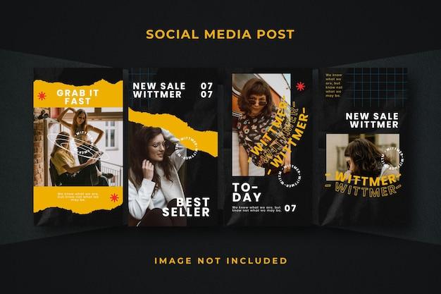 Quadratische instagram-vorlage für social media-geschichten