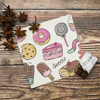 Quadratische karte mit süßigkeiten konzept