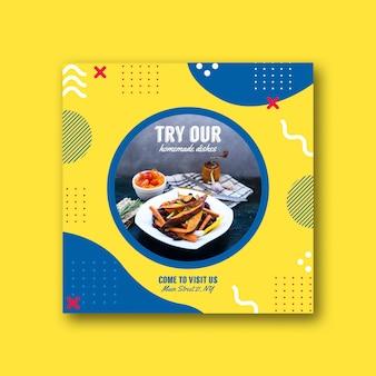 Quadratische kartenvorlage für restaurant im memphis-stil