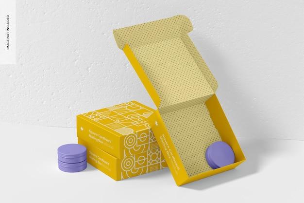 Quadratische karton mailboxen set mockup
