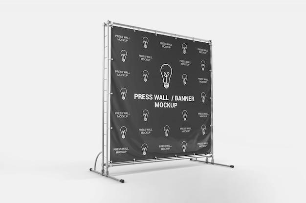 Quadratische presse wand banner mockup