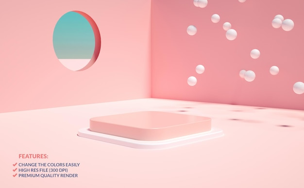Quadratische rosa podium minimalistische szene in 3d-rendering