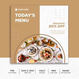 Quadratischer fahnen-lebensmittel-restaurant-goldluxus