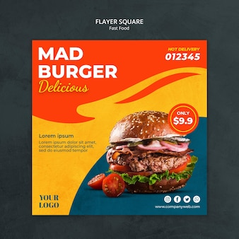 Quadratischer flyer der fast-food-vorlage