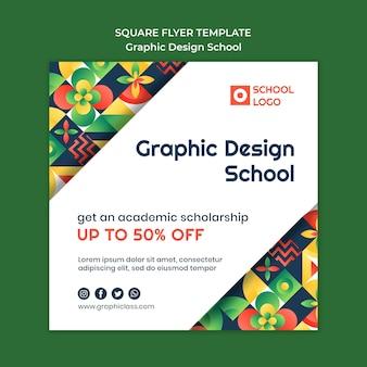 Quadratischer flyer der grafikdesignschule