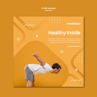 Quadratischer flyer des meditationskonzepts Kostenlosen PSD