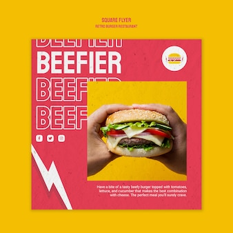 Quadratischer flyer des retro-burger-restaurants