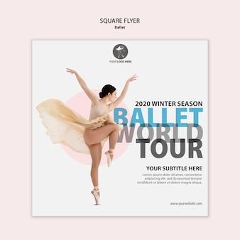 Quadratischer flyer für ballettaufführung