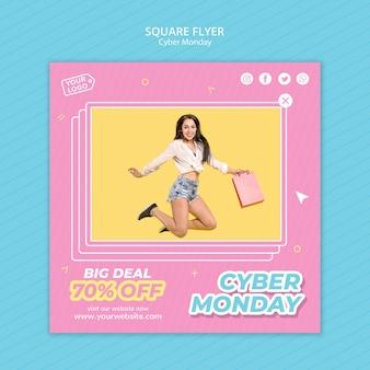 Quadratischer flyer für cyber-montag-shopping