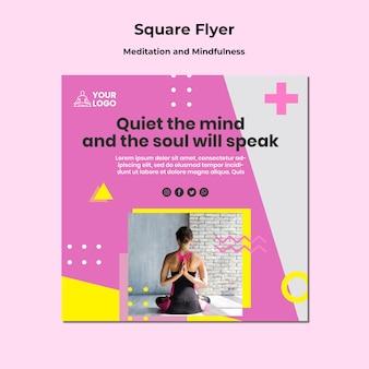 Quadratischer flyer für meditation und achtsamkeit