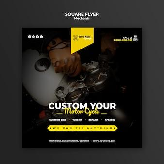 Quadratischer flyer für motorradwerkstatt