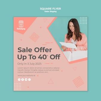 Quadratischer flyer für online-einkäufe mit verkauf
