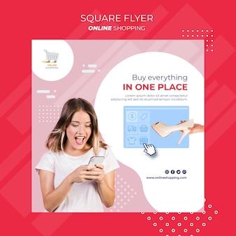 Quadratischer flyer für online-einkäufe