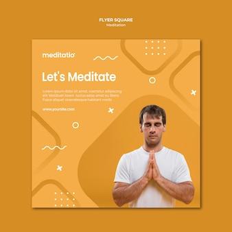 Quadratischer flyer-stil des meditationskonzepts
