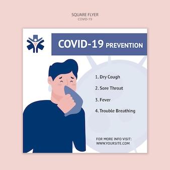 Quadratischer flyer zur coronavirus-prävention