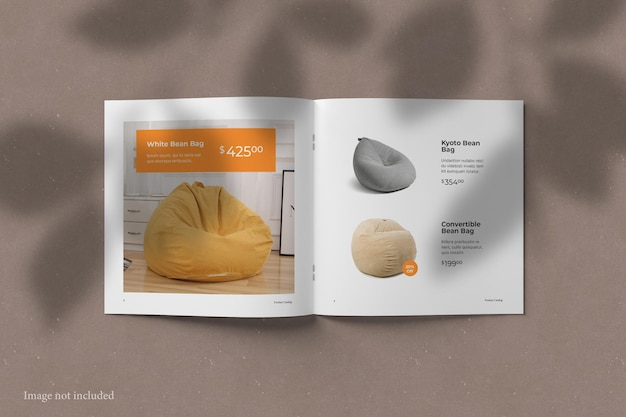Quadratisches broschüren-katalogmodell in draufsicht mit schattenüberlagerung
