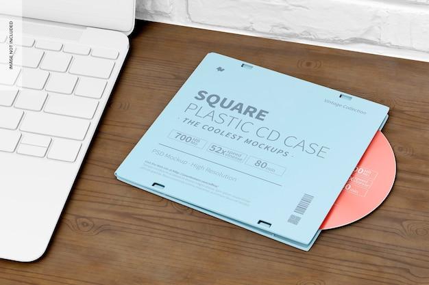 Quadratisches cd-hülle-mockup aus kunststoff