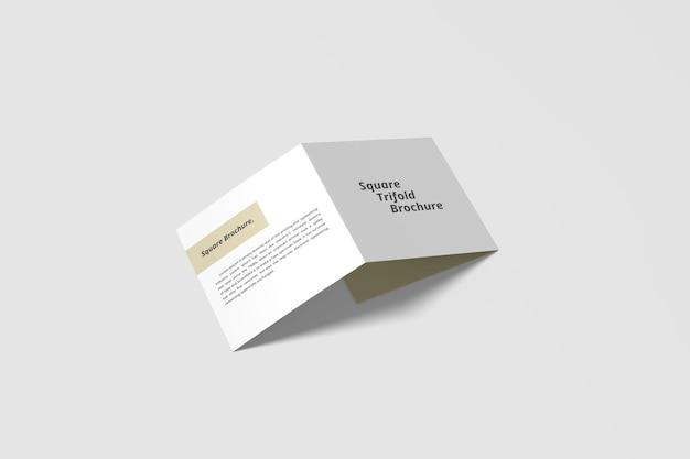 Quadratisches dreifach gefaltetes broschürenmodell in 3d-rendering