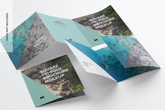 Quadratisches dreifach gefaltetes broschürenmodell