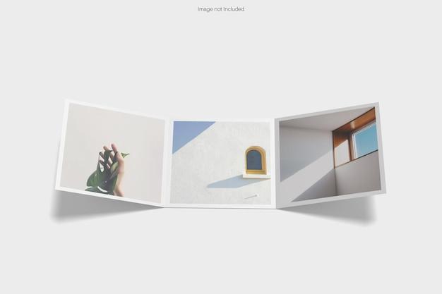 Quadratisches dreifach gefaltetes mockup-design-rendering isoliert