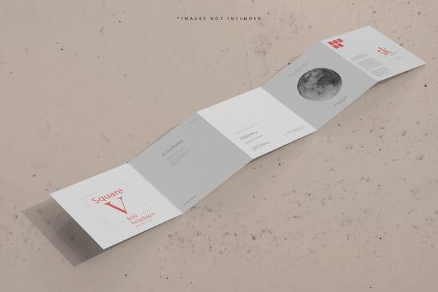Quadratisches fünffach gefaltetes broschürenmodell