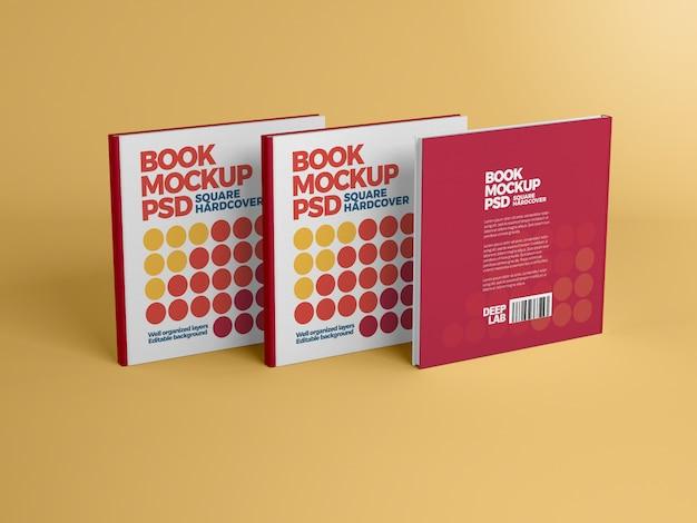 Quadratisches hardcover-buch mit bearbeitbarem hintergrundfarbmodell