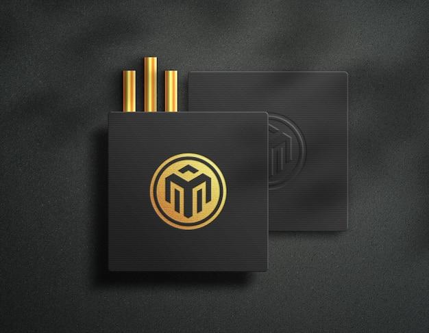 Quadratisches kartenlogo-mockup luxury golden effect