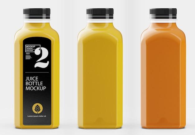 Quadratisches orangensaftflaschenmodell isoliert