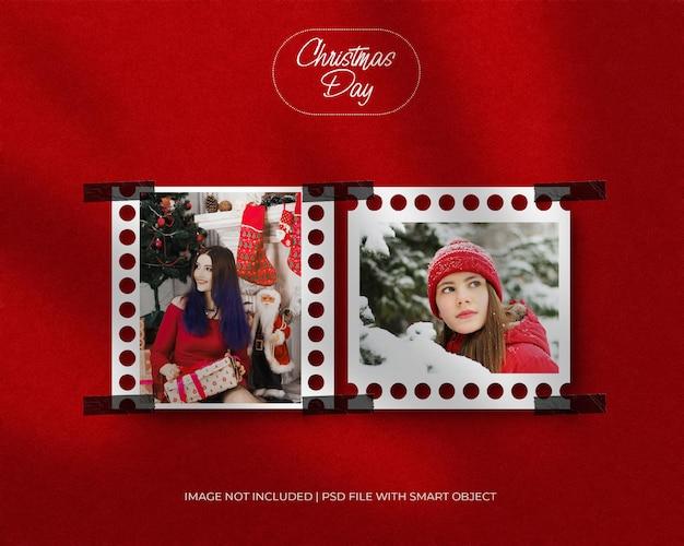 Quadratisches papierrahmen fotomodell für weihnachten und frohe weihnachten