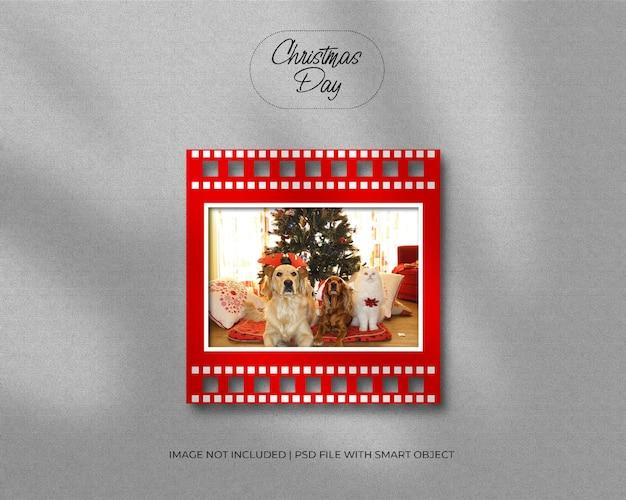 Quadratisches papierrahmen-fotomodell für weihnachten und frohe weihnachten