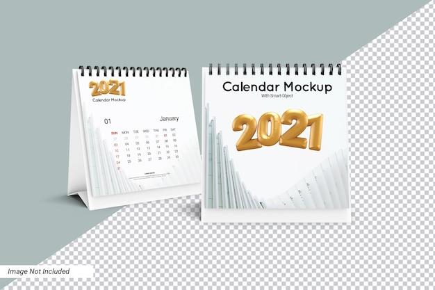 Quadratisches schreibtischkalender-modell isoliert