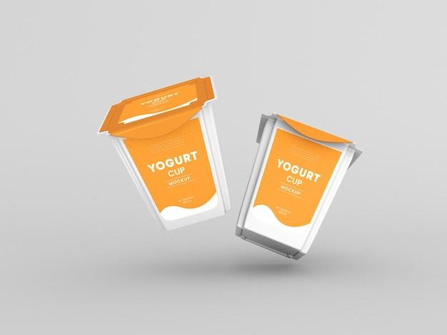 Quadratisches verpackungsmodell für joghurtbecher