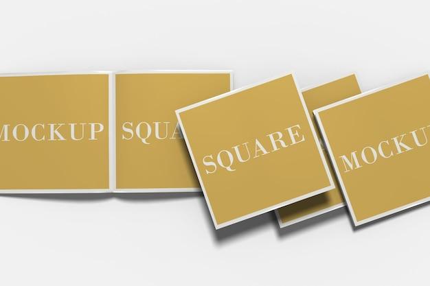 Quadratisches zweifach gefaltetes broschürenmodell isoliert