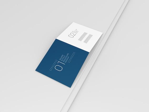 Quadratisches zweifach gefaltetes broschürenmodell