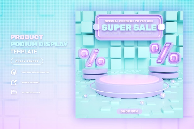 Rabatt 3d rosa podium produktanzeige banner auf flash sale sonderverkauf und super mega sale