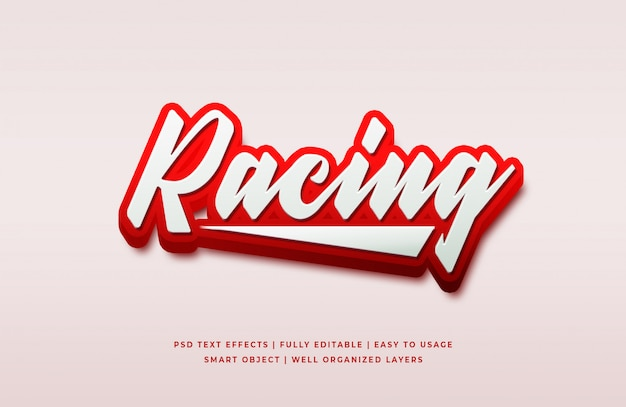 Racing 3d textstil effekt premium psd