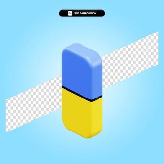 Radiergummi 3d-render-illustration isoliert