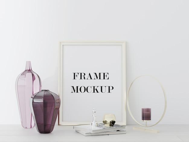 Rahmen an wand neben vasen in 3d-rendering gelehnt