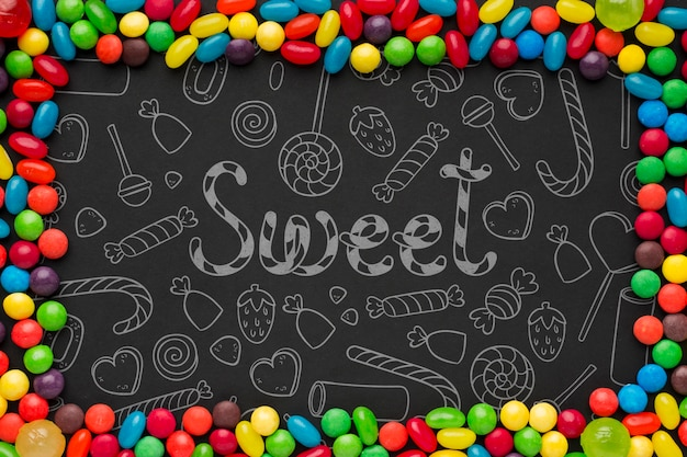 Rahmen aus bunten süßigkeiten