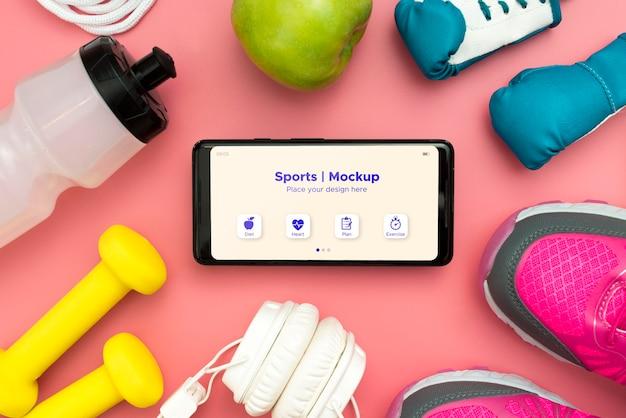 Rahmen der sportausrüstung mit telefon