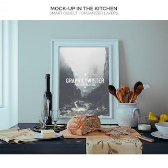 Rahmen mock-up in der küche