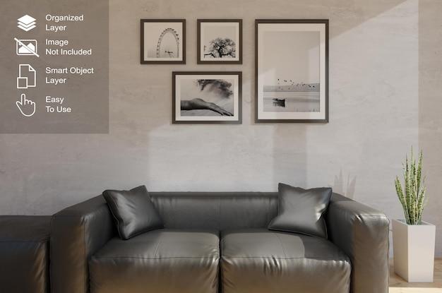 Rahmen mockup wohnzimmer