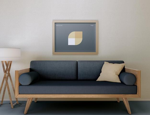 Rahmen und sofa mockup im wohnzimmer