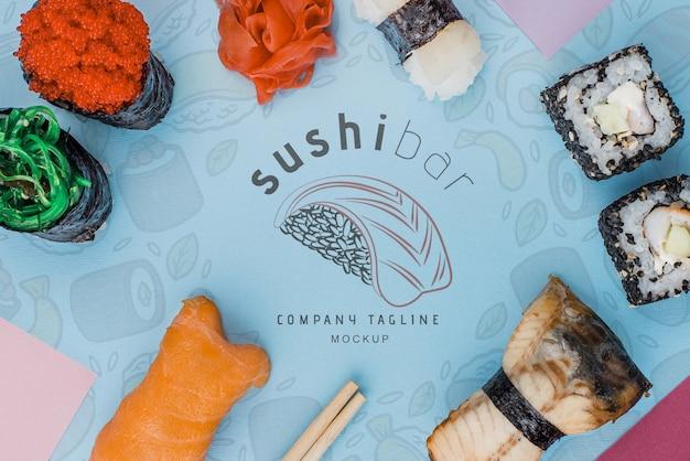 Rahmen von sushi-rollen