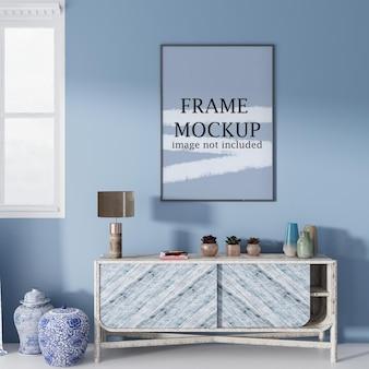 Rahmenmodell an der blauen wand