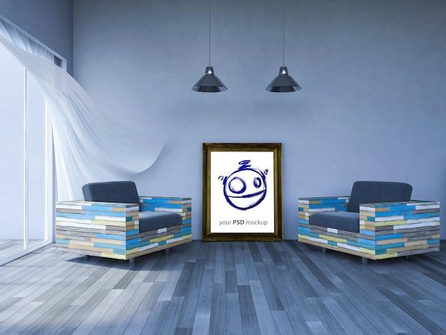 Rahmenmodell im modernen wohnzimmer