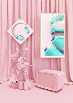 Rahmenmodell in rosa pop-stil