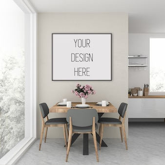 Rahmenmodell, küche mit schwarzem horizontalen rahmen, skandinavisches interieur