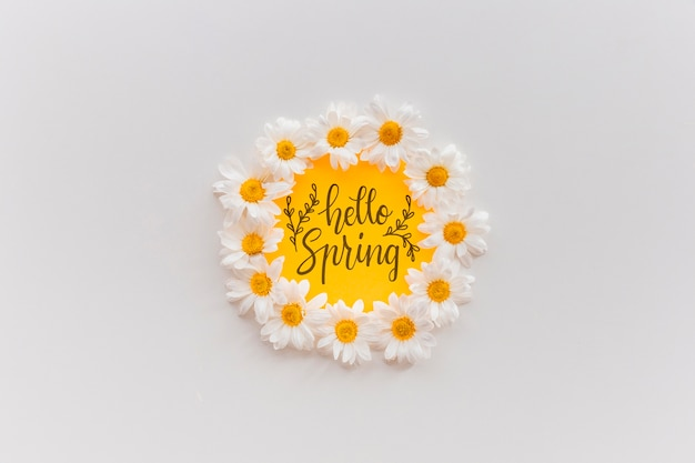 Rahmenmodell mit frühlingsblumen
